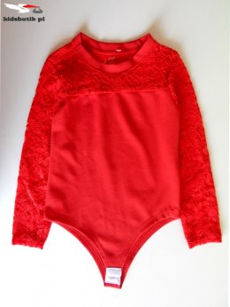 Body with long sleeves and lace - red