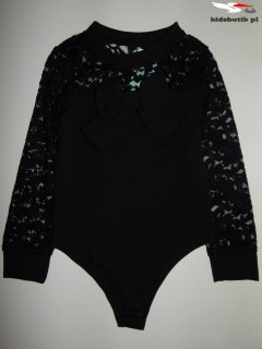 Body with long sleeves, lace and bow