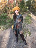 Knitted dress boho MANIA Brown and rudy