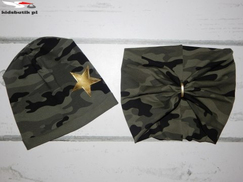 Set of CAMO hat and neck warmer with stars