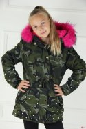 Winter CAMO PARKA JACKET with beads, fur and thick