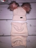 Winter set hat and neck warmer with 2 POMPOMS-powder pink