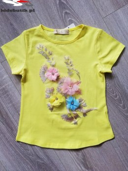 Blouse with embroidery and 3D flowers - yellow