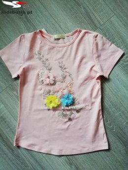 Blouse with embroidery and 3D flowers - pink