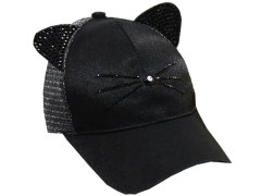 Cap with mesh-baseball bat Black
