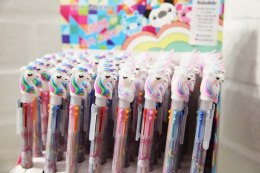 Multi-coloured ballpoint pen 6 colors UNICORN multicolor-with pink