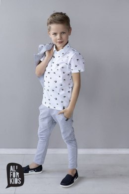 Elegantly sporty white polo shirt SWALLOWS with print