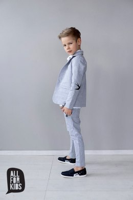 Elegantly sporty gray suit SWALLOWS with patches