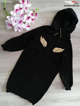 ANGEL coat with golden wings-black