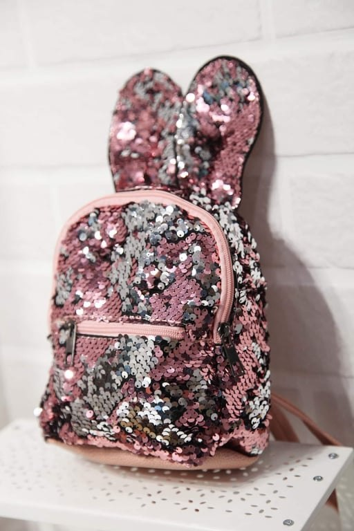 Bunny Backpack double-sided sequins and ears