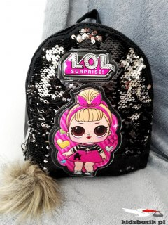Backpack LOL Bilateral sequins and pompom-black