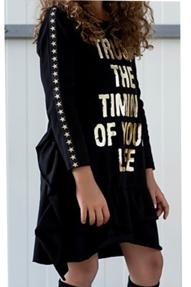 LAURA STAR dress / tunic with gold lettering, decorative tapes and frills