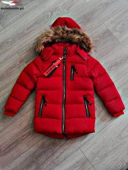 Winter quilted red jacket with fur trim and decorative ziplocks