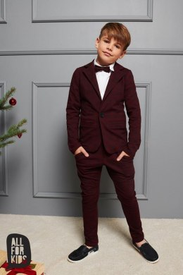 Elegant sporty burgundy suit with checker bow tie