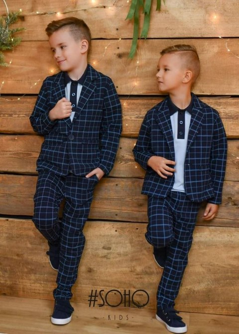 Elegantly sporty navy checked suit with t-shirt complete