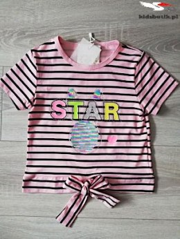 STAR Striped T-shirt - magical sequins, coral roses