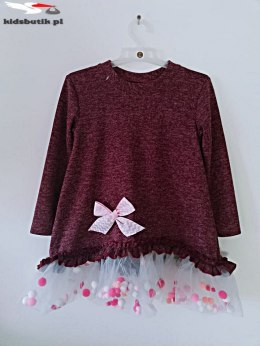 Dress POMPONKI, BOW and TULLE-Burgundy