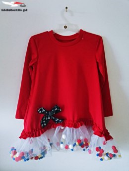 Dress POMPONKI, BOW and TULLE-Red