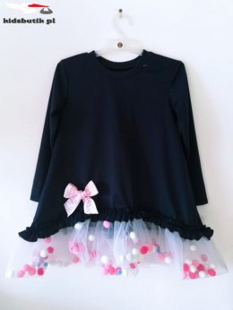 Dress POMPONKI, BOW and TULLE-Pomegranate