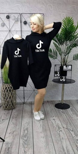 TRACKSUIT DRESS WITH TIK TOK hood and 3/4 sleeves