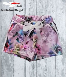 Shorts with floral print, bow and lanterns