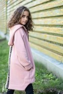 Sonia asymmetric coat with tape logged - pink