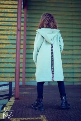 Sonia asymmetric coat with tape logged - mint