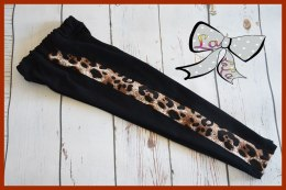 Black leggings with leopard lampas