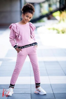 Asymmetric tracksuit Leonka frills and straps EXCLUSIVE - pink