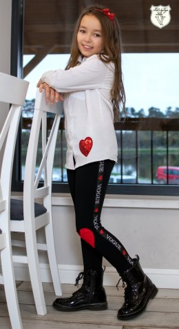 Elegant LOVE shirt with print and sequin heart
