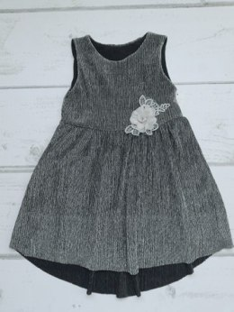 Elegant silver dress with detachable brooch