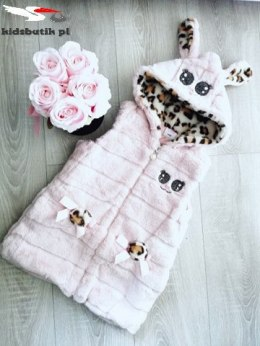 Rabbit fur vest with leopard - powder pink