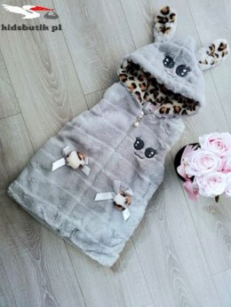 Rabbit fur vest with leopard - grey