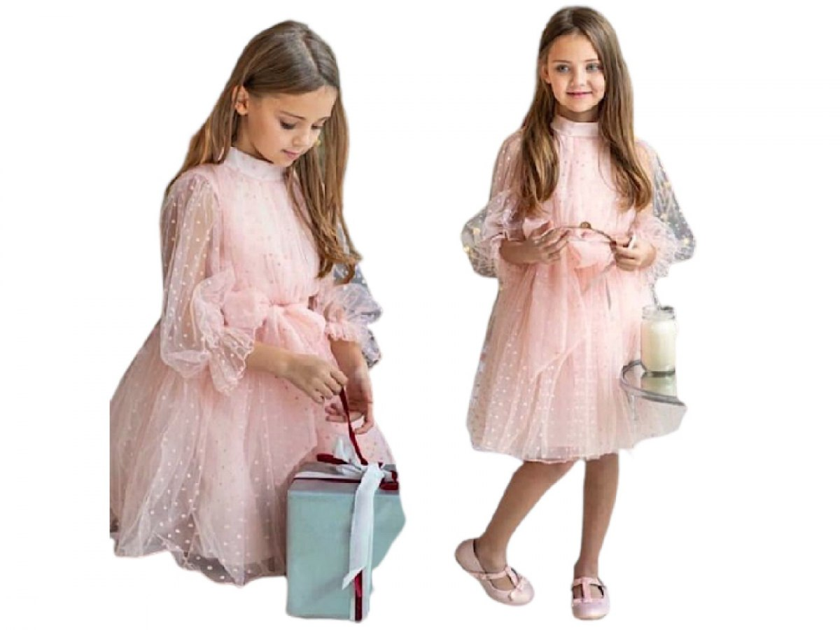 Victoria's occasional dress with tulle in peas - powder edible pink