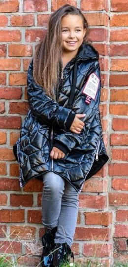Quilted winter jacket with tape and ziers