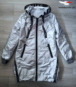 Quilted transitional coat with tape and zipped - silver