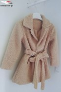 Transitional coat with buckli - sheepskin autumn/spring beige