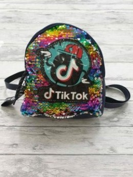 BACKPACK TIK TOK magic sequins with pin - black