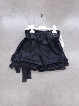 Shorts with eco-leather with kidney - classic black