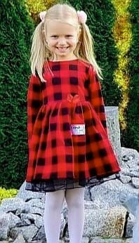 Christmas dress in red plaid with tulle