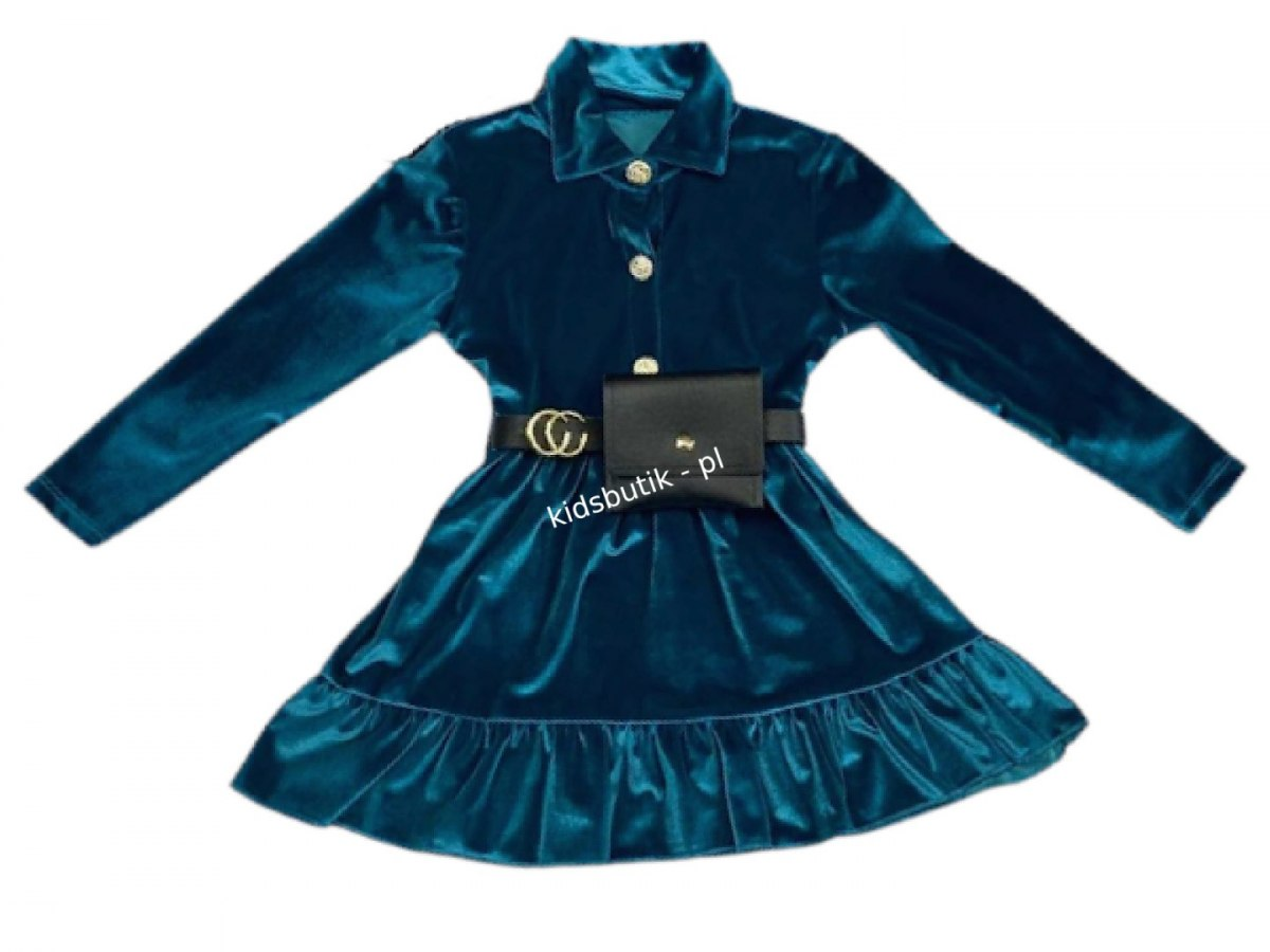 Velour dress CHANELKA with kidney - sea
