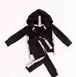 Velour lily tracksuit with straps and with pin - black