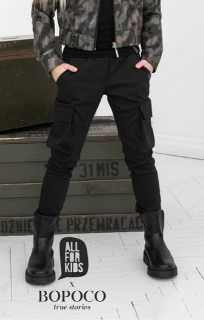 Militia pants with pockets - classic black