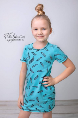 Dress/Tunic for Daughter FEATHERS Set Mom & Daughter - Azure