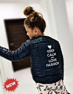 Kurtka Ramoneska KEEP CALM & LOVE FASHION z nadrukiem z tyłu